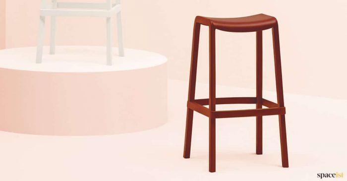 Red stool closeup