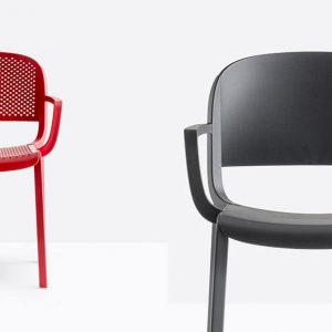Red perferated cafe chair
