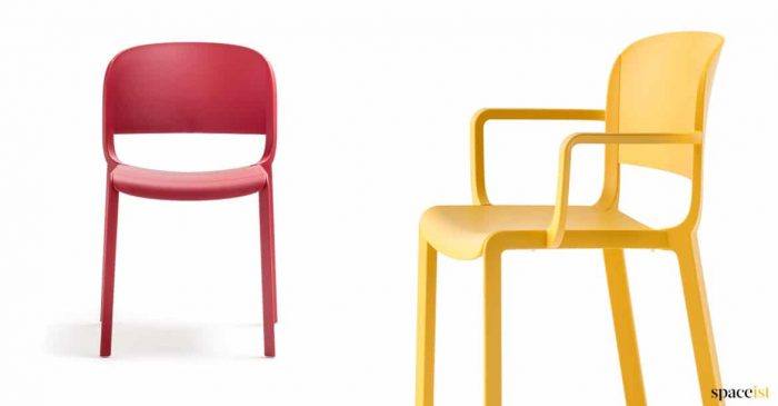 Dom red and yellow cafe chair with arms