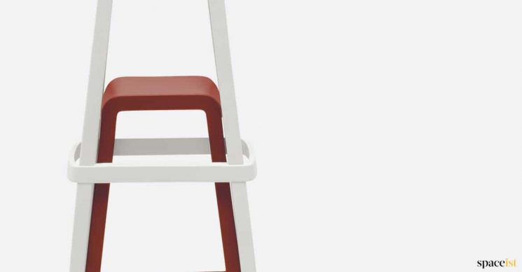 red + white stacking stool