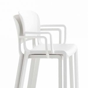 Dom white stacking cafe chairs
