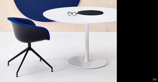 Blue + black meeting chair