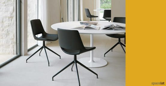 Dizzie meeting table with black Palm chairs