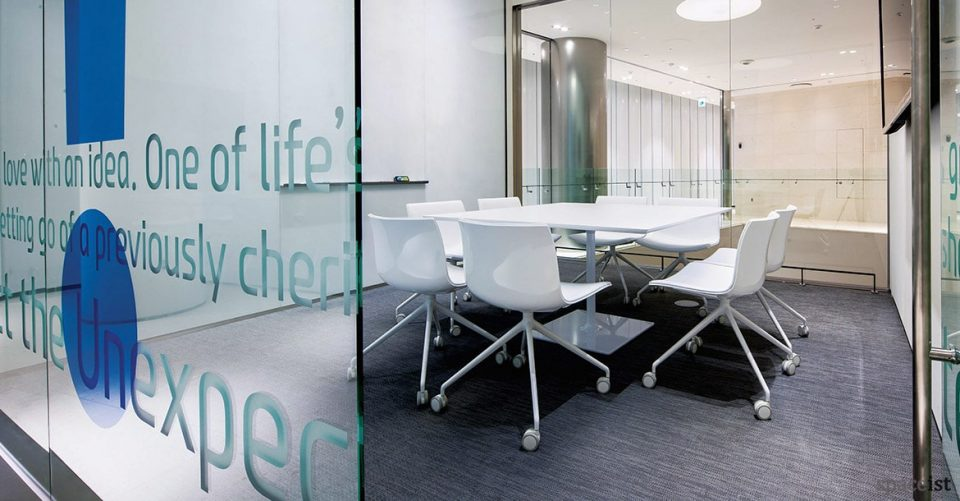 Square Dizzie office table with Catifa chairs on castors