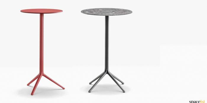 Bar height round table in red