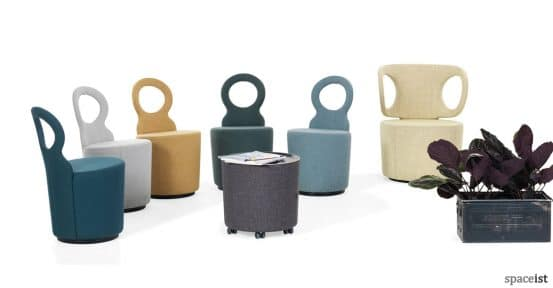 Eye bar chair in colourful fabrics