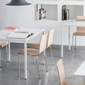 Fabb white metal cafe table to seat four people