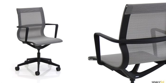 Flix desk chair with a grey mesh seat