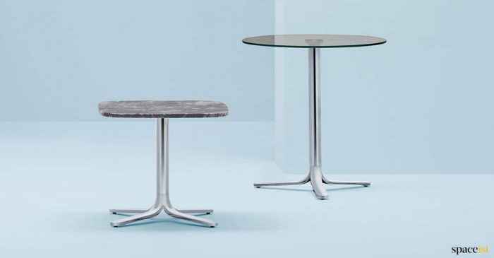 chrome + marble cafe table