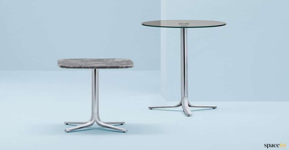 chrome + marble cafe table