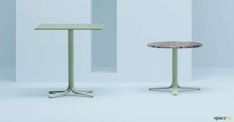 Green + marble cafe table