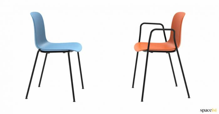 Orange cafe chair with armrests