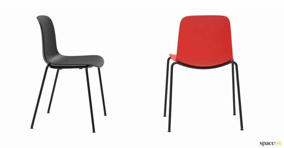 Red + black plastic chair