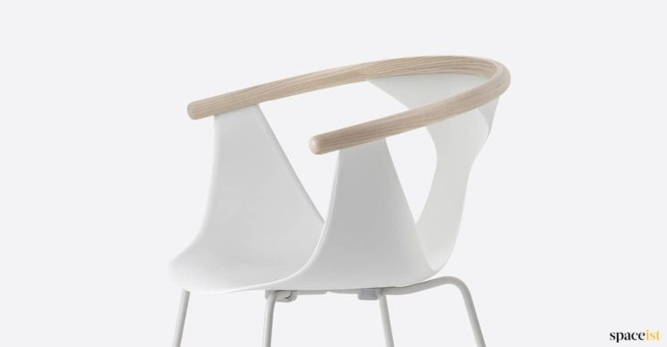 white chair with wood arm