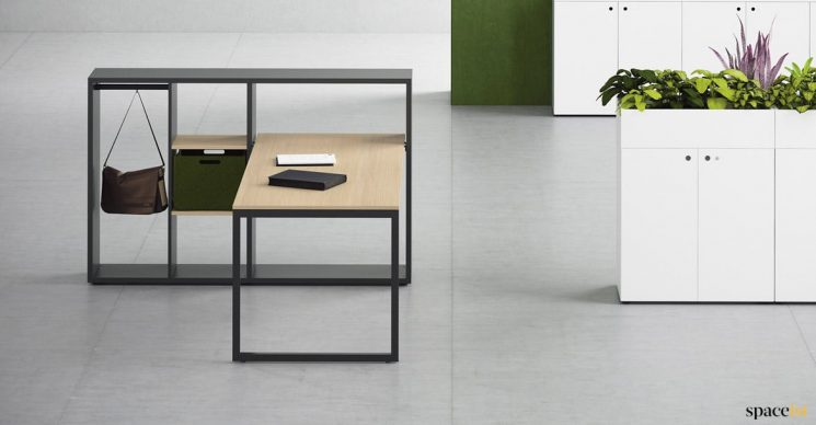 Black desk with shelving