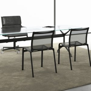 Glass executive desk black legs