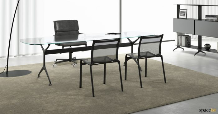 Glass executive desk black legs