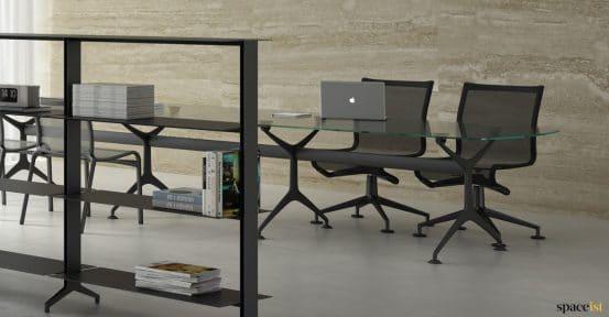 Glass + black executive meeting table