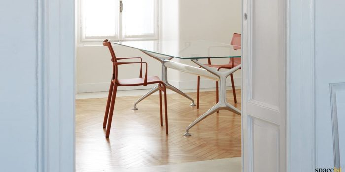 Frame cool glass meeting table