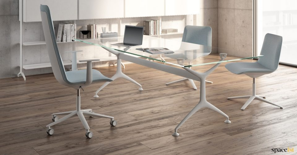 Frame designer glass executive desk