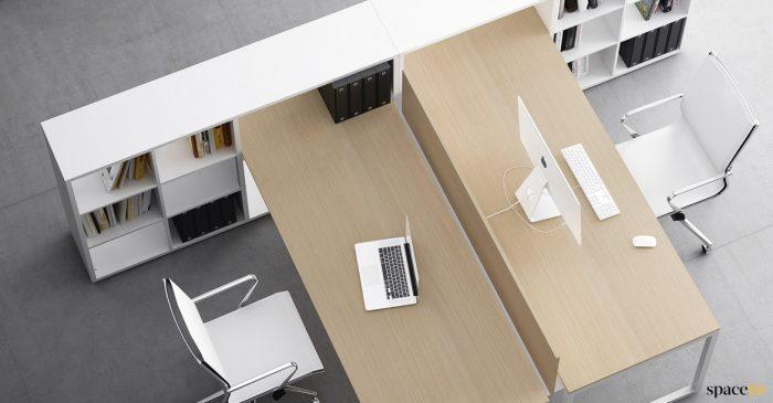 2 person storage desk oak