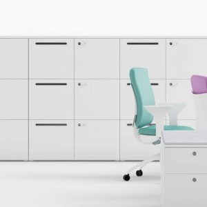 White Staff Lockers with Letter Slot