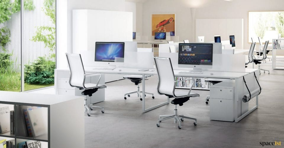 Frame four person desk in white