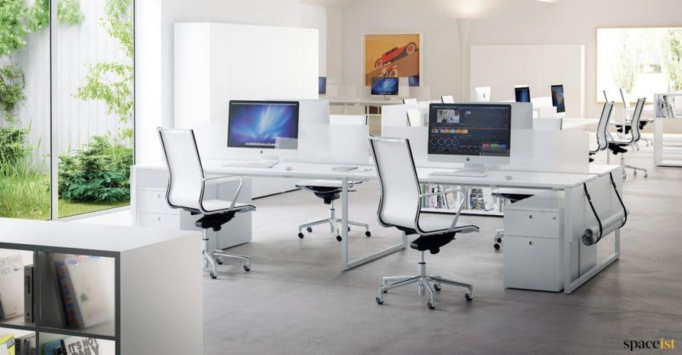 Frame four person desk in white