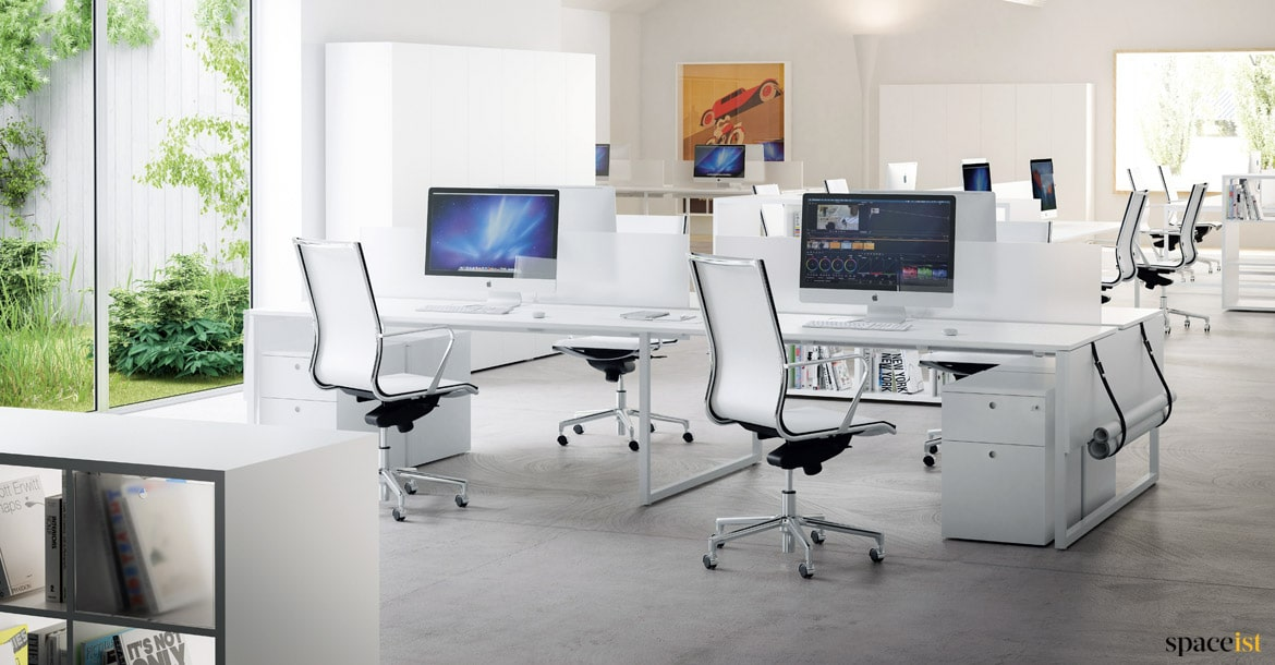 long office table. frame four person desk in white spaceist office long table