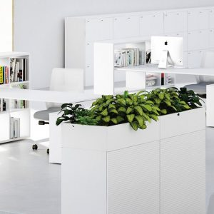 white desk with high shelving