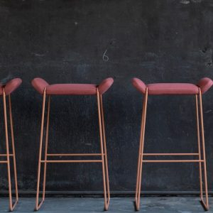 Frankie bar stool in red fabric