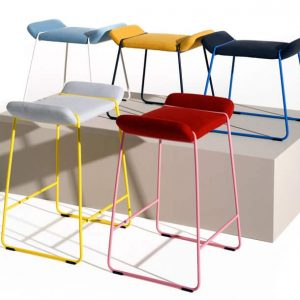 Frankie red, yellow + blue low cafe stool
