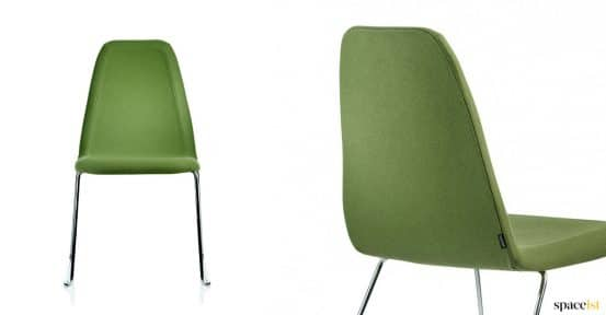 Game green meeting chair with sled base