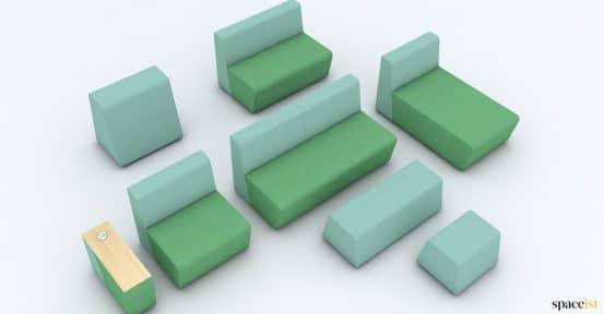 Green modular sofa units