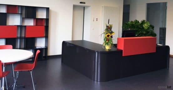 Hi-lin dark grey corner reception desk with red counter top