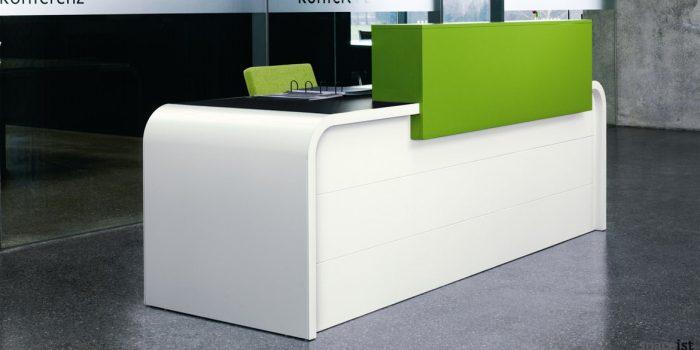 Hi-line white desk with a orange counter
