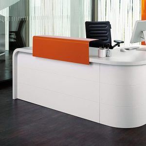 Hi-line orange corner desk with rounded ends