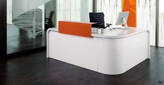 Hi-line orange corner desk with rounded ends
