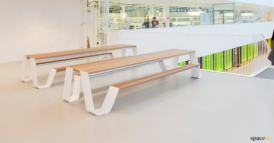 Large white + wood canteen tables