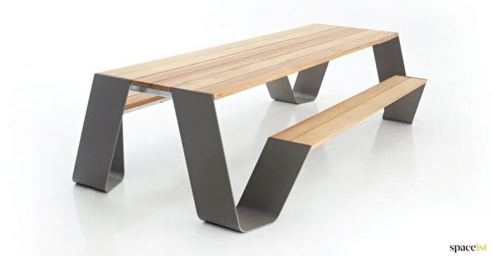 Black outdoor picnic table
