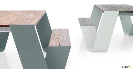 Pastel colours on outdoor picnic table