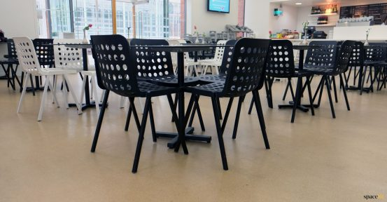 Black cafe chairs for museum