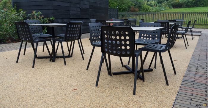 Black outdoor cafe furniture