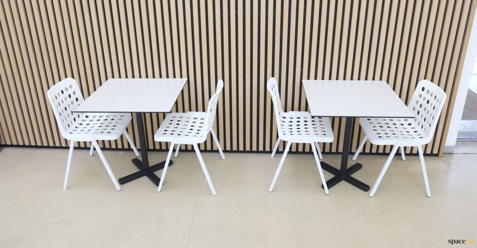 Cafe chair with drainage holes