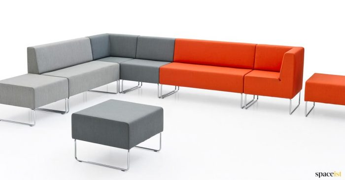 Breakout corner sofa in orange + grey
