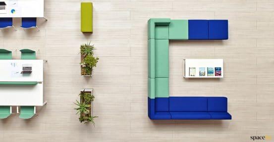 U shaped sofa in blue + mint green
