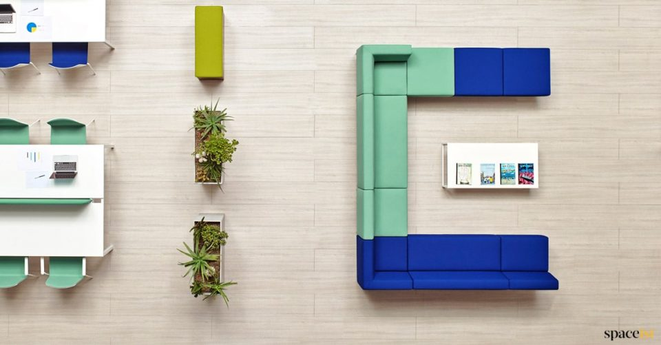 U shaped sofa in blue + mint green