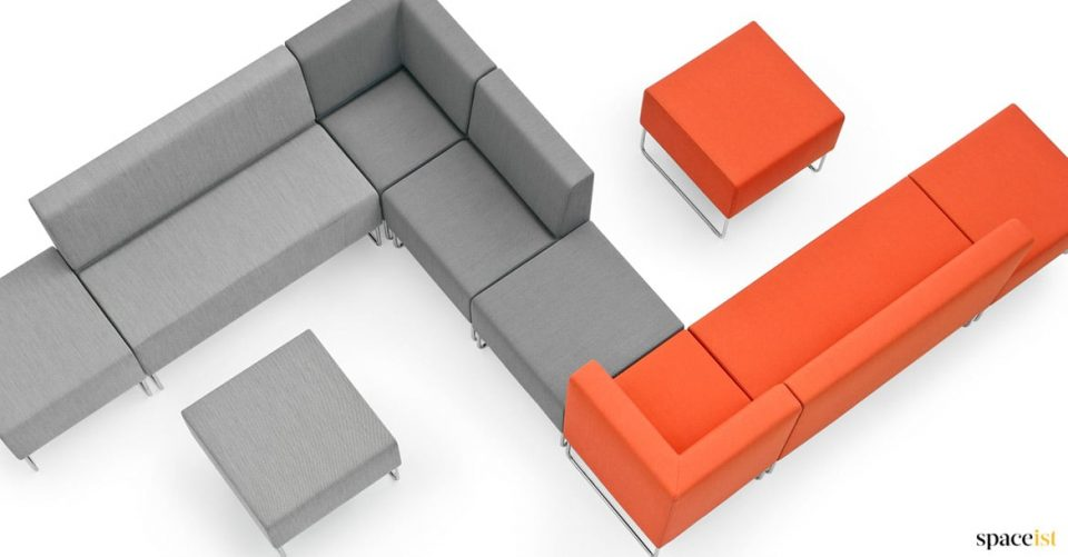 corner sofa in orange + grey