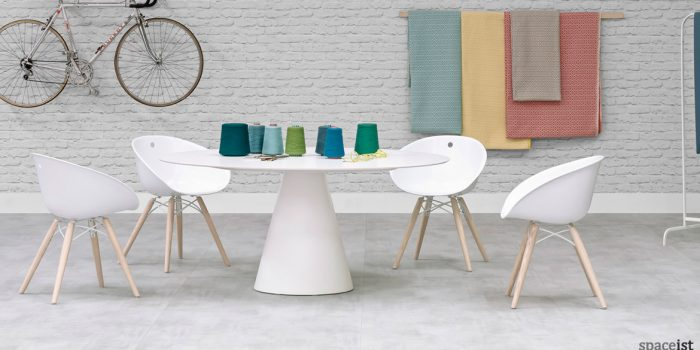 Icon white office meeting room table with Gliss chair