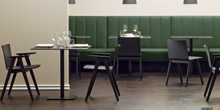 Inox black designer square cafe table